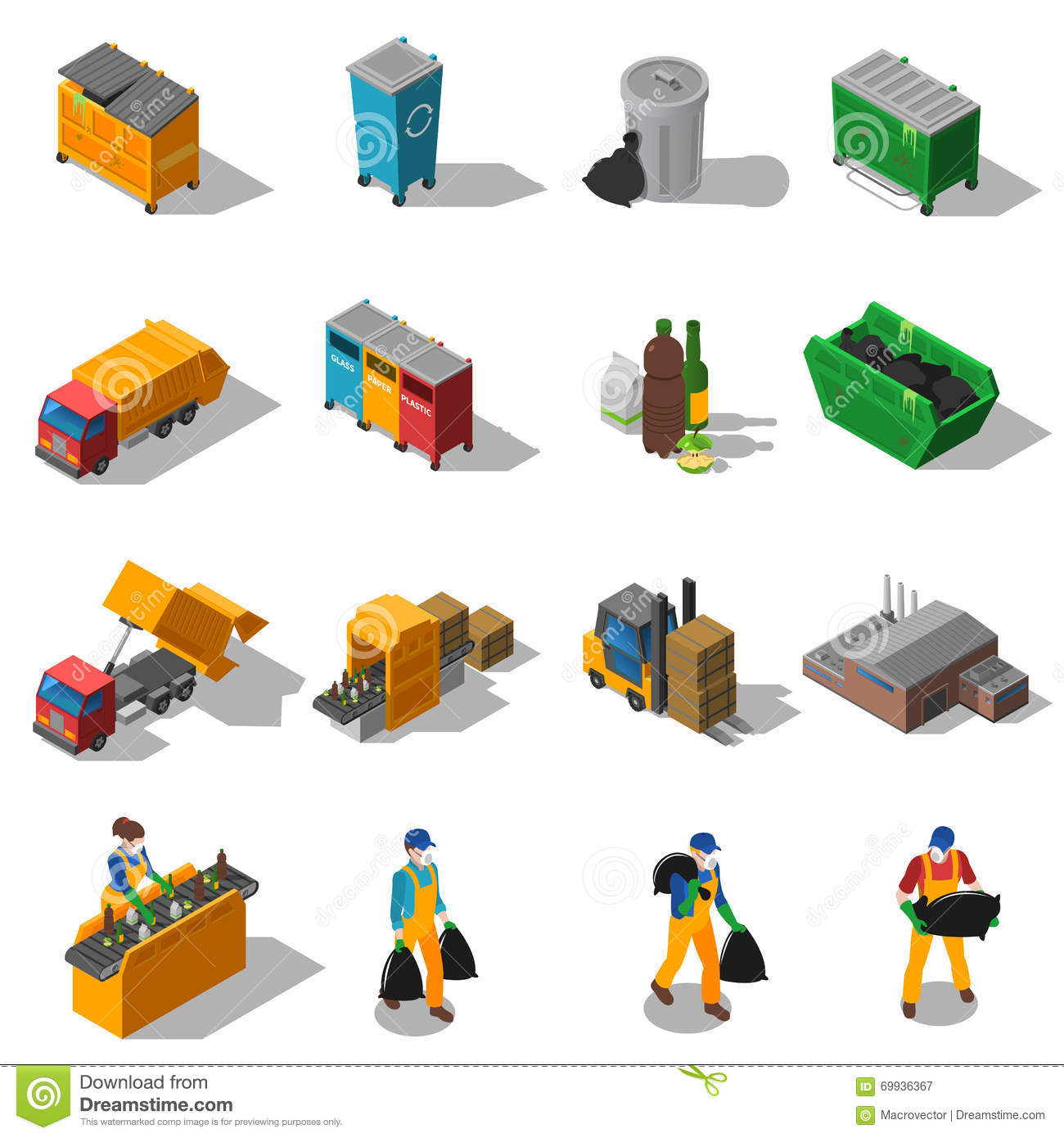 Vector E Sanitary Service : Garbage recycling isometric icons collection stock vector