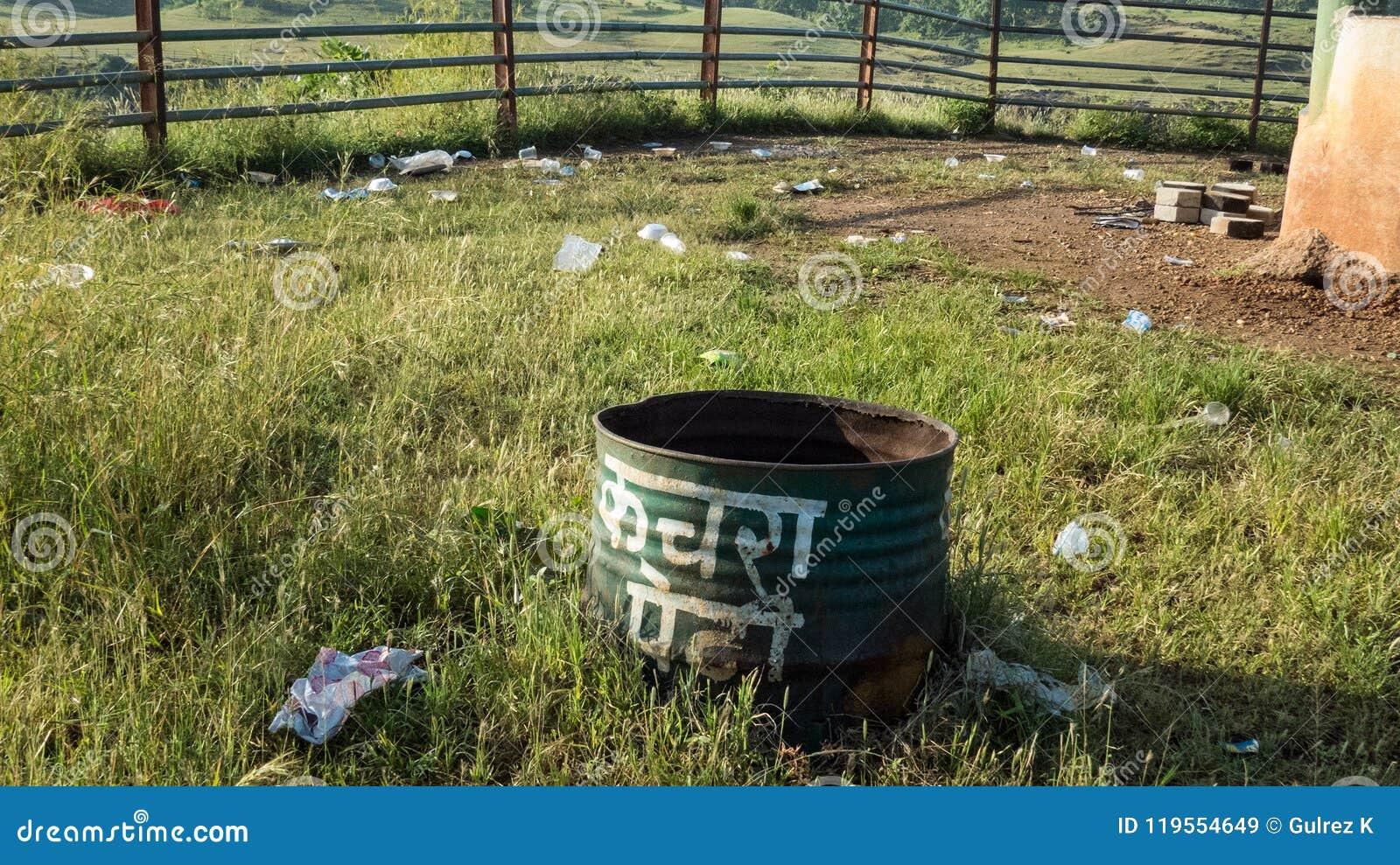 Garbage spread outside of a litter bin at picnic spot