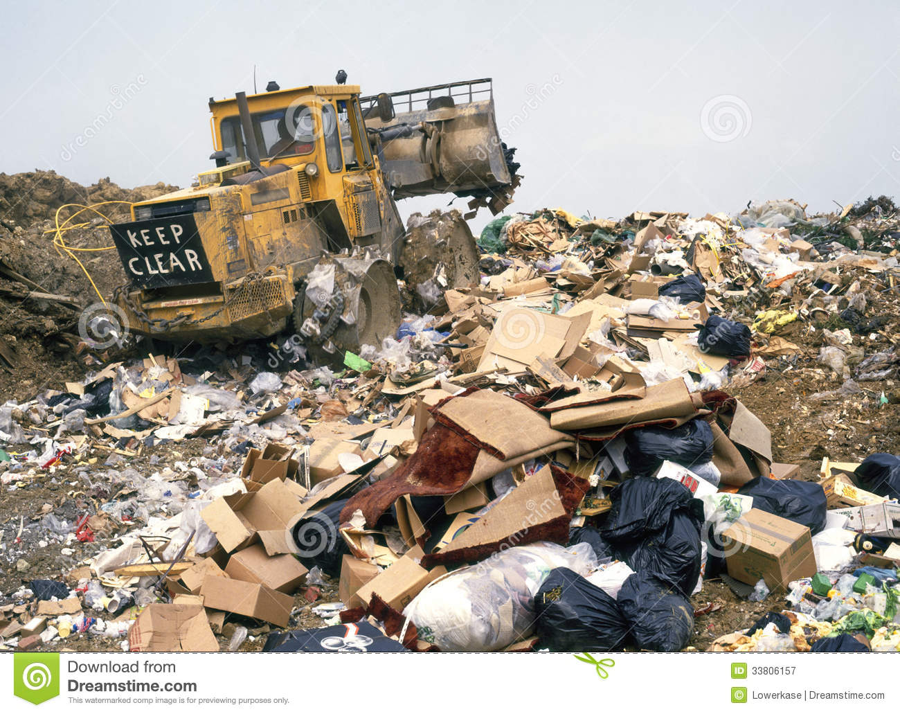 Landfills With Tractors : Garbage tip royalty free stock photography image