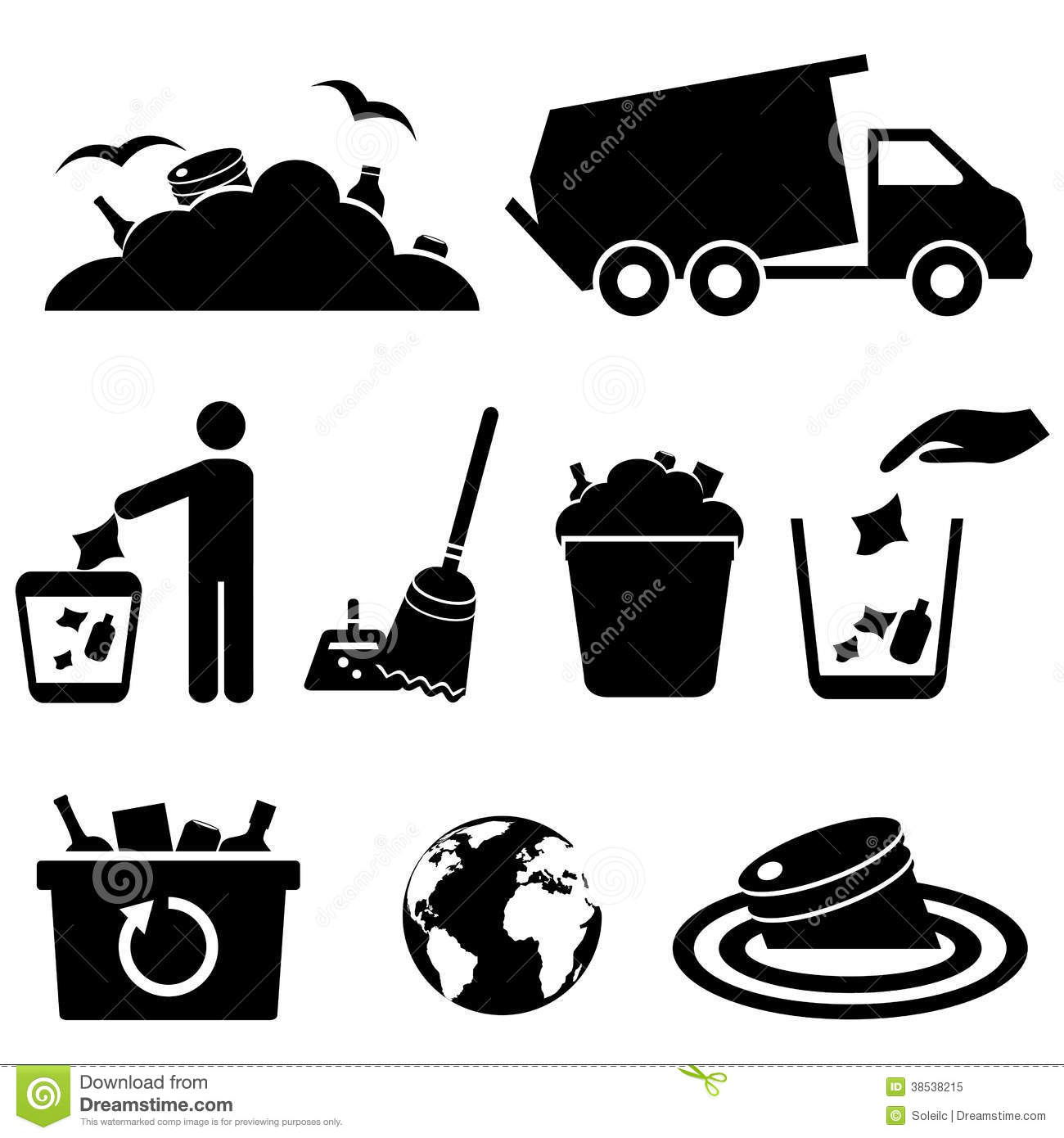 Garbage, Trash And Waste Icons Royalty Free Stock Photo - Image ...