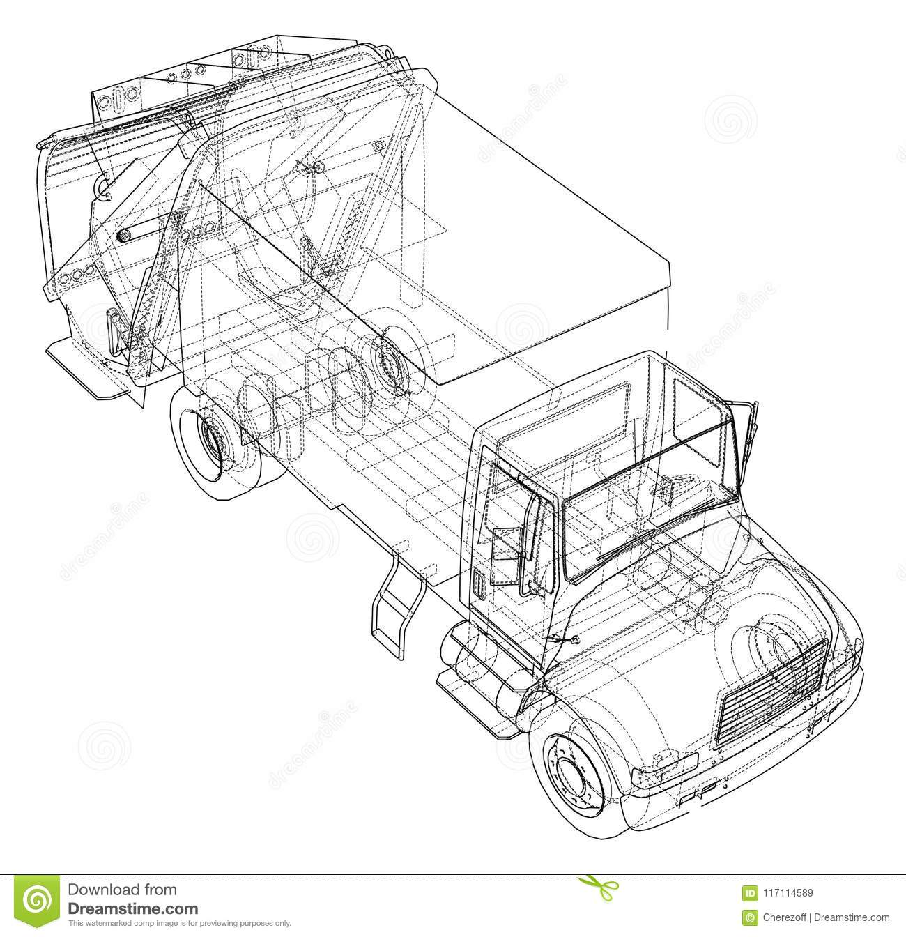 Garbage Truck Concept Vector Rendering Of 3d Wire Frame Style The Layers Visible And Invisible Lines Are Separated