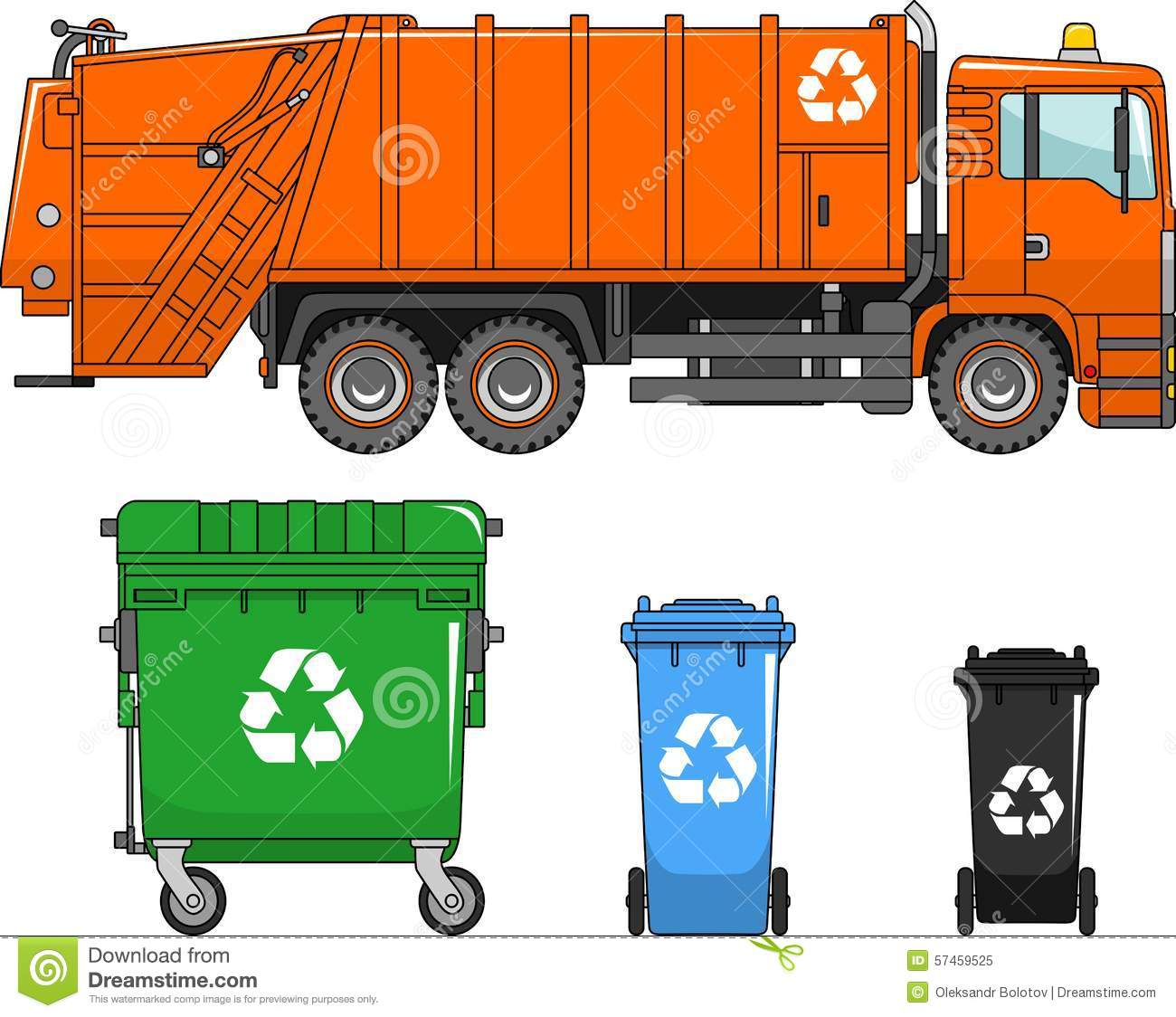 garbage truck and different types of dumpsters on a white background in a flat style stock. Black Bedroom Furniture Sets. Home Design Ideas