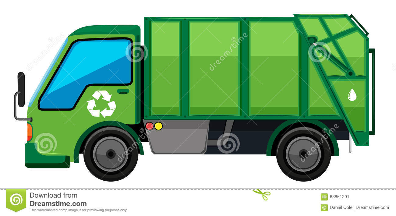 Garbage Truck In Green Color Stock Vector - Image: 68861201