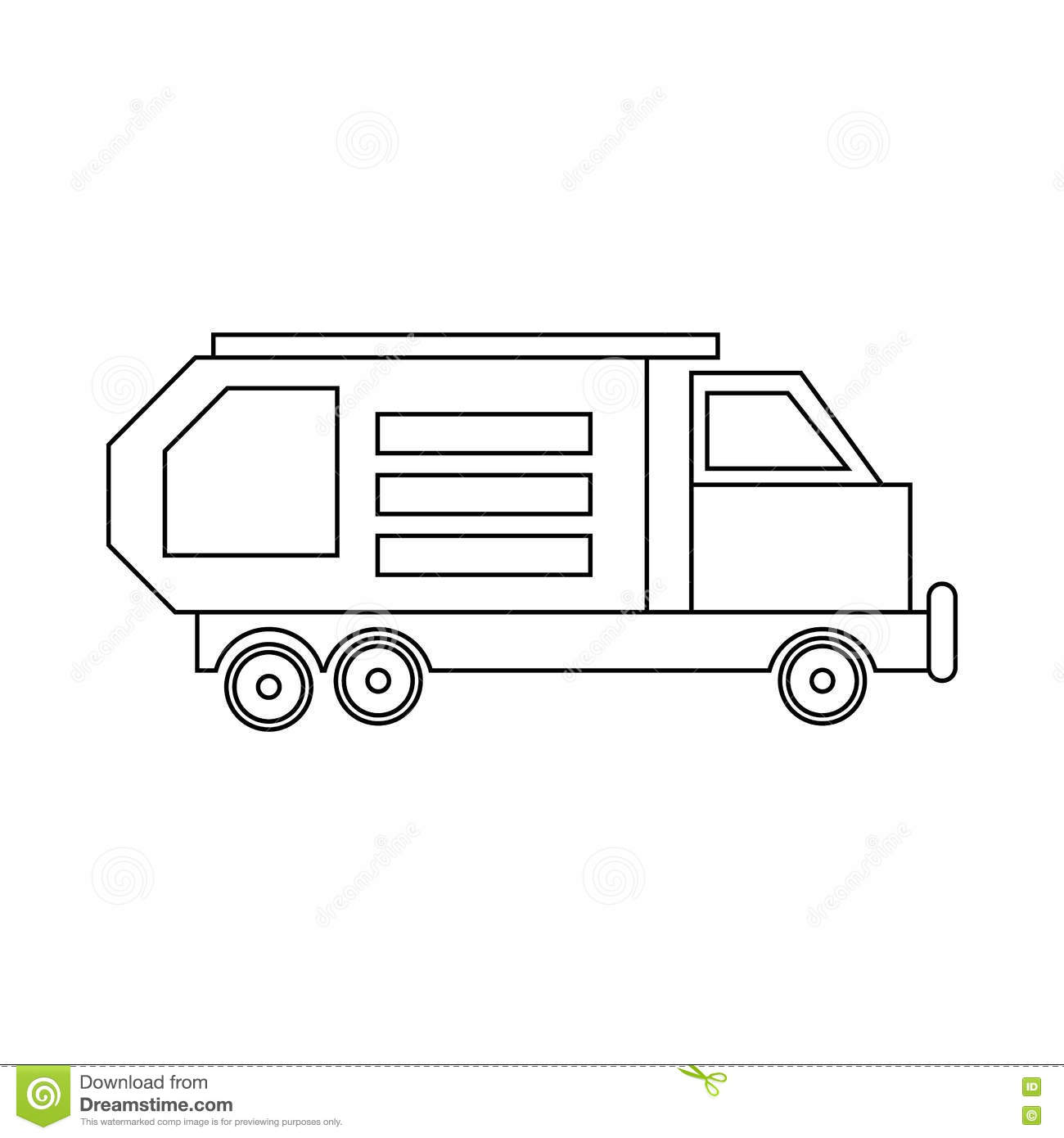 Garbage Truck Waste Collector Icon In Outline Style Isolated On White Background