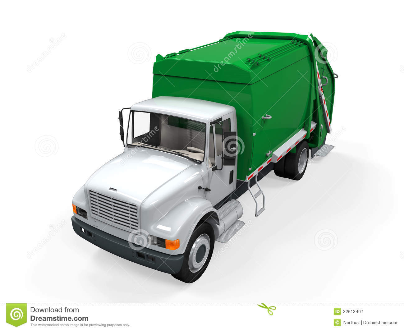 Green Truck Clipart Free Garbage truck on white