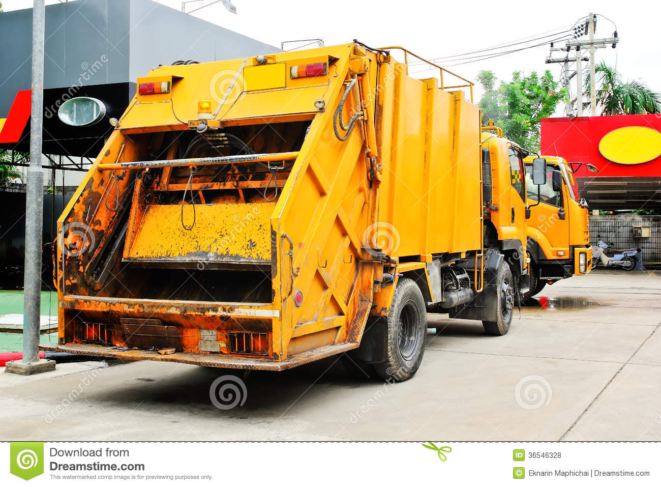 Garbage truck stock photo. Image of truck, container ...