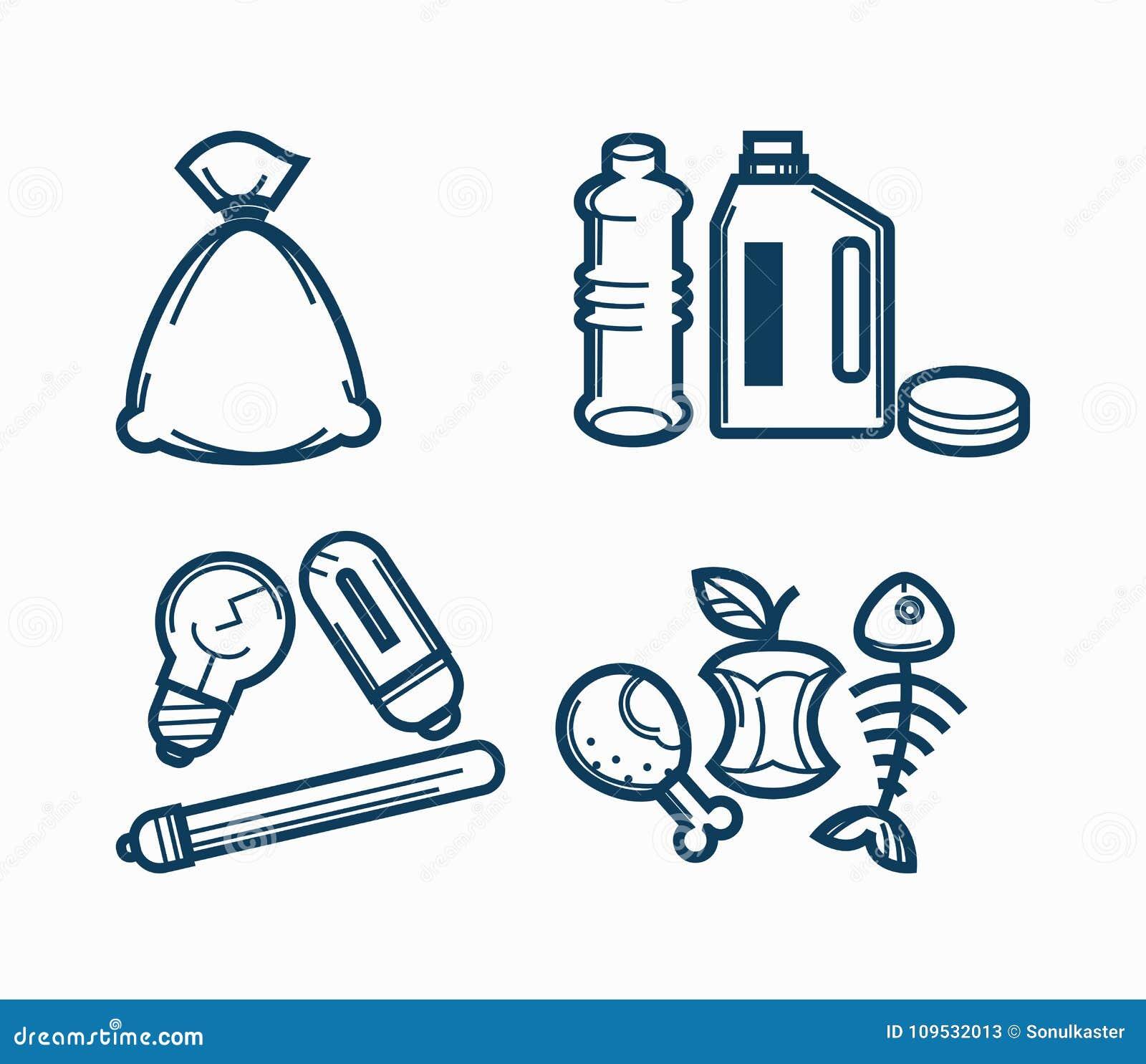 Vector E Sanitary Service : Garbage wastes trash line vector icons set of toxic