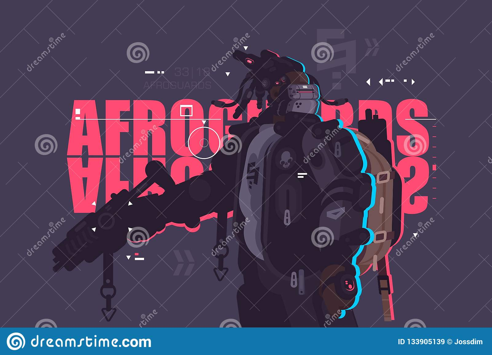 Garde Afro de type de bourdon avec l arme