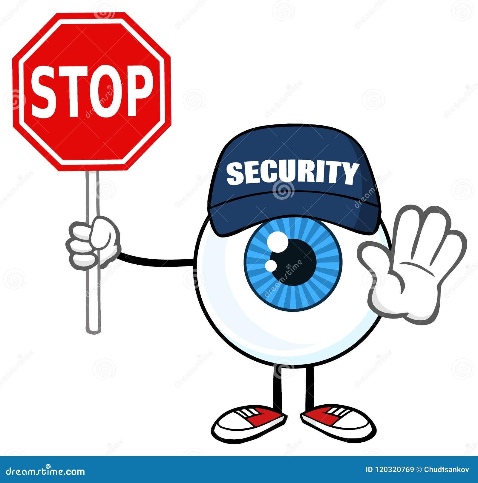 Garde bleue Gesturing And Holding de Guy Cartoon Mascot Character Security de globe oculaire un signe d arrêt