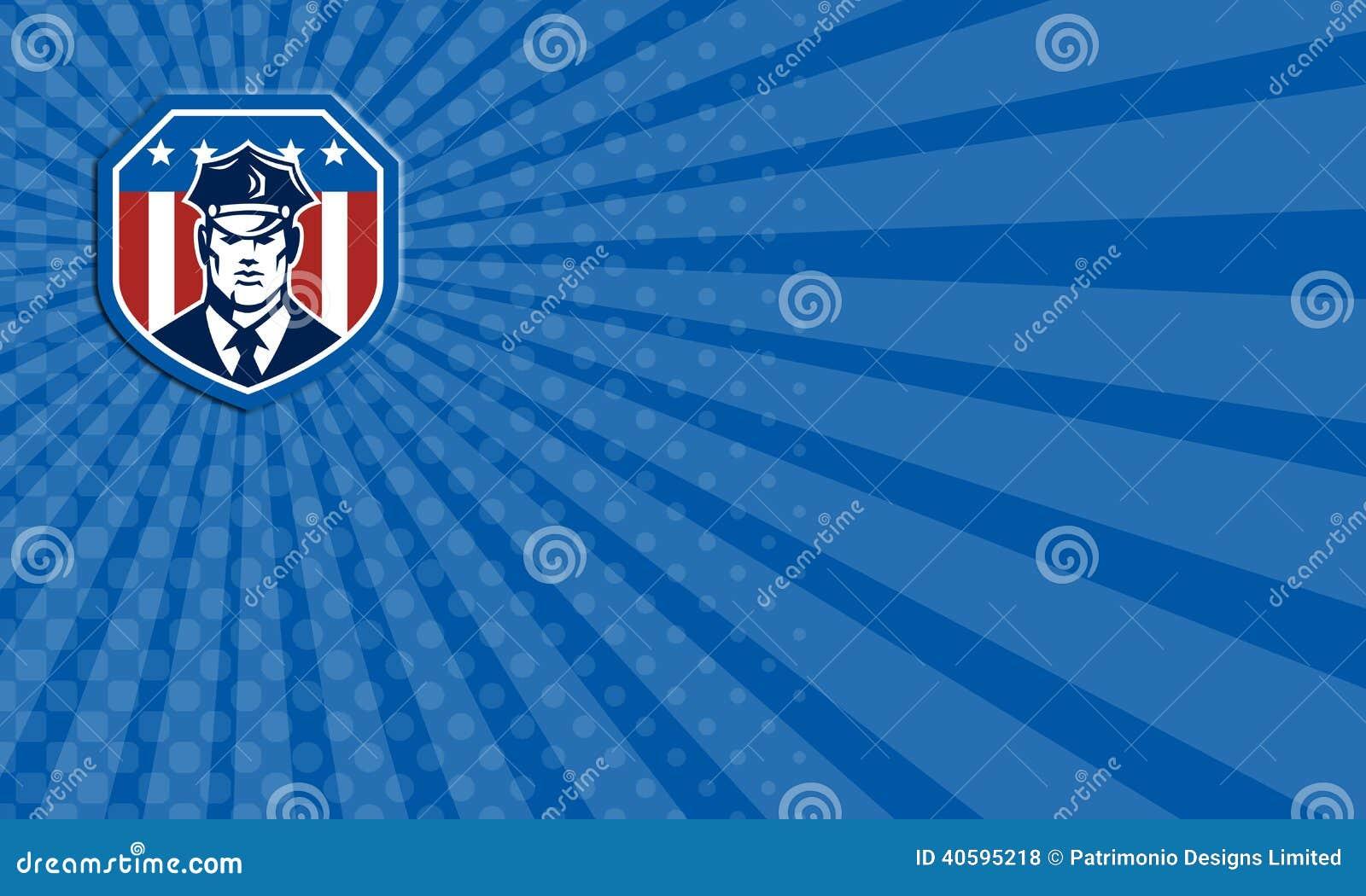 Garde De Securite Americain Carte Visite Professionnelle Flag Shield Retro