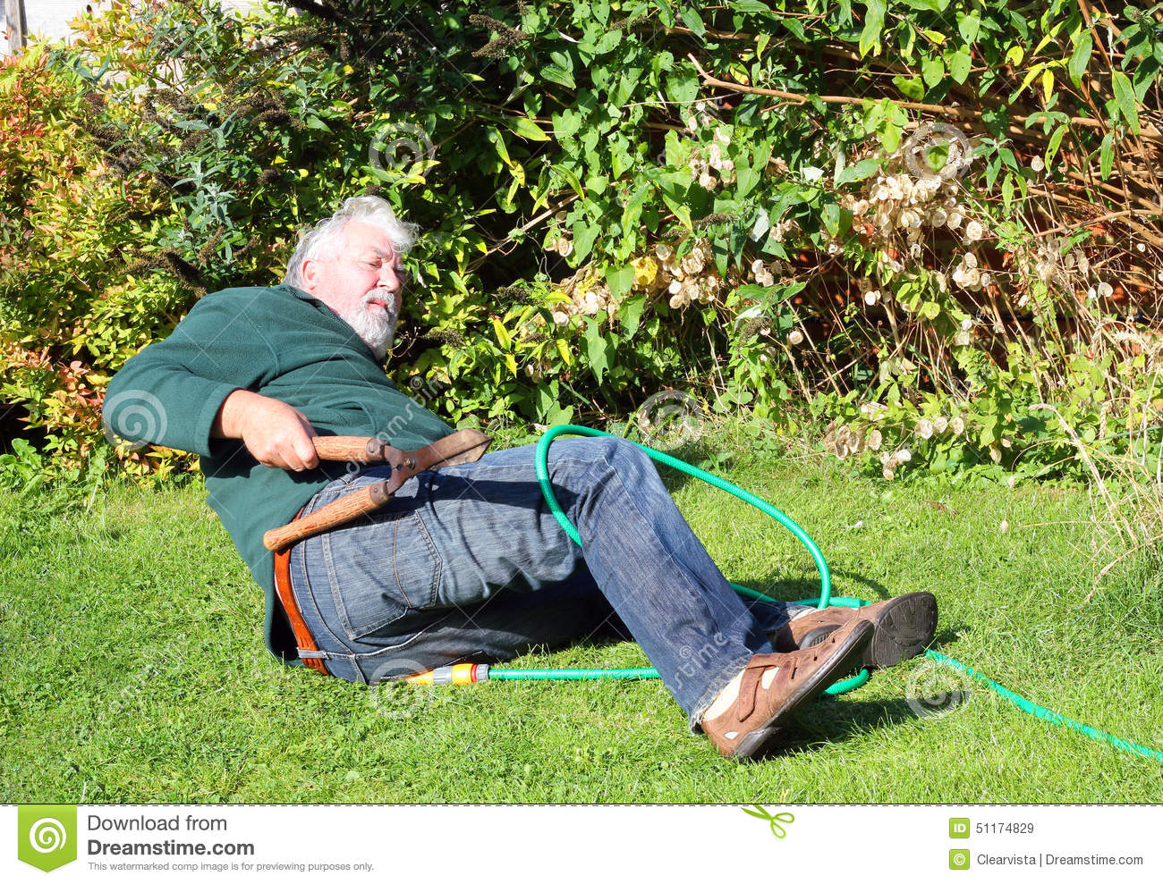 Garden Accident Falling Over Stock Photo Image 51174829