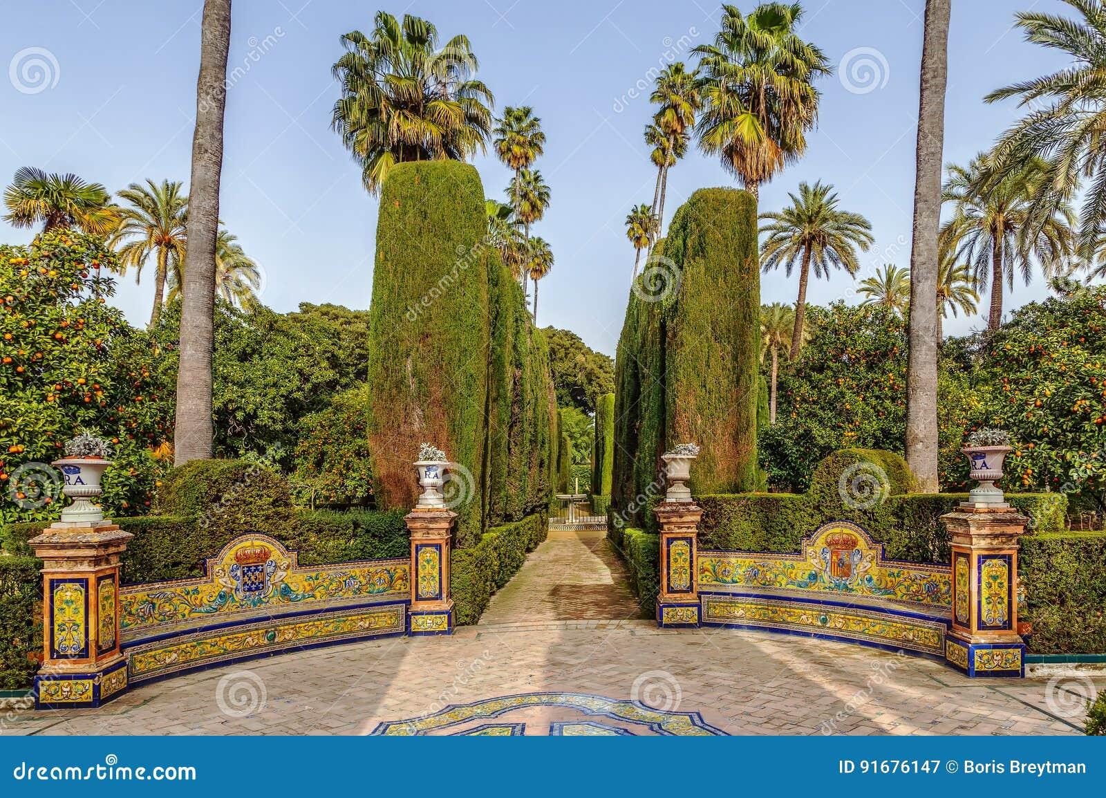 Garden In Alcazar Of Seville, Spain Stock Image - Image of gardens ...