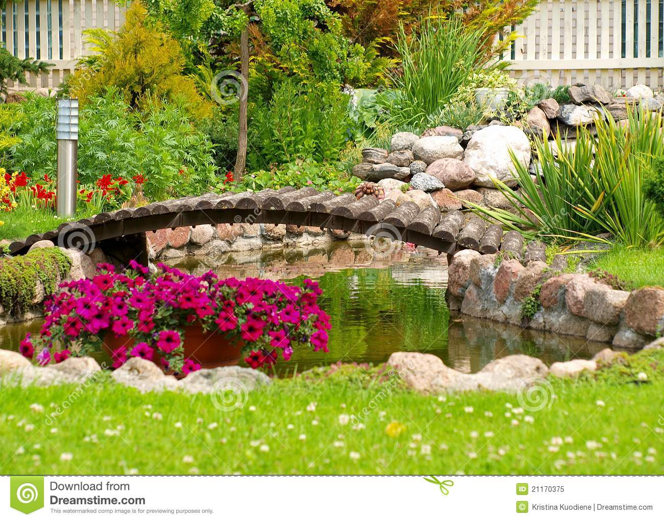 Garden arched bridge royalty free stock photo image for Artificial pond in garden
