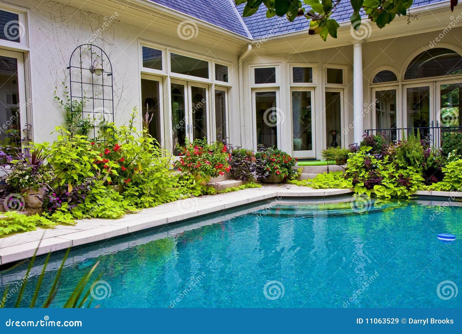 Garden Around Pool Stock Image Image Of House Blue