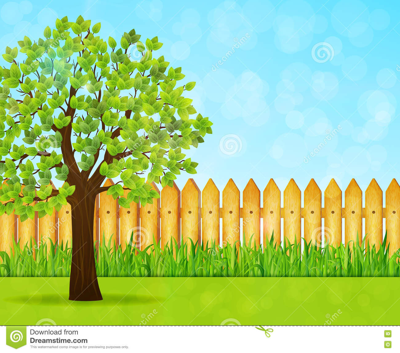 Garden Background With Green Tree And Wooden Fence Stock