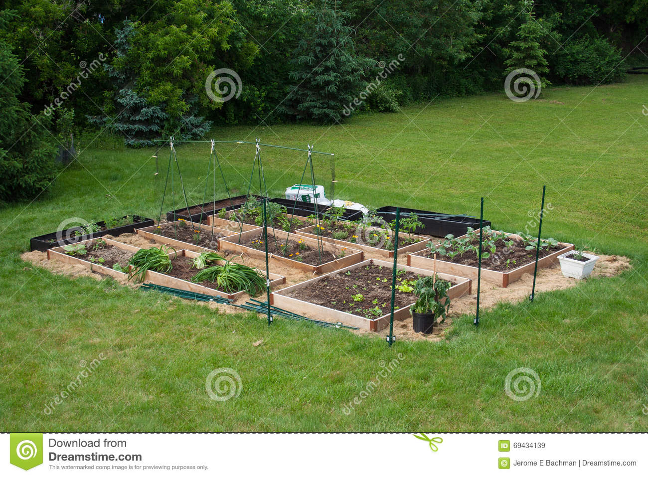 Garden Beds Completed And In Use Stock Image Image Of Made Home