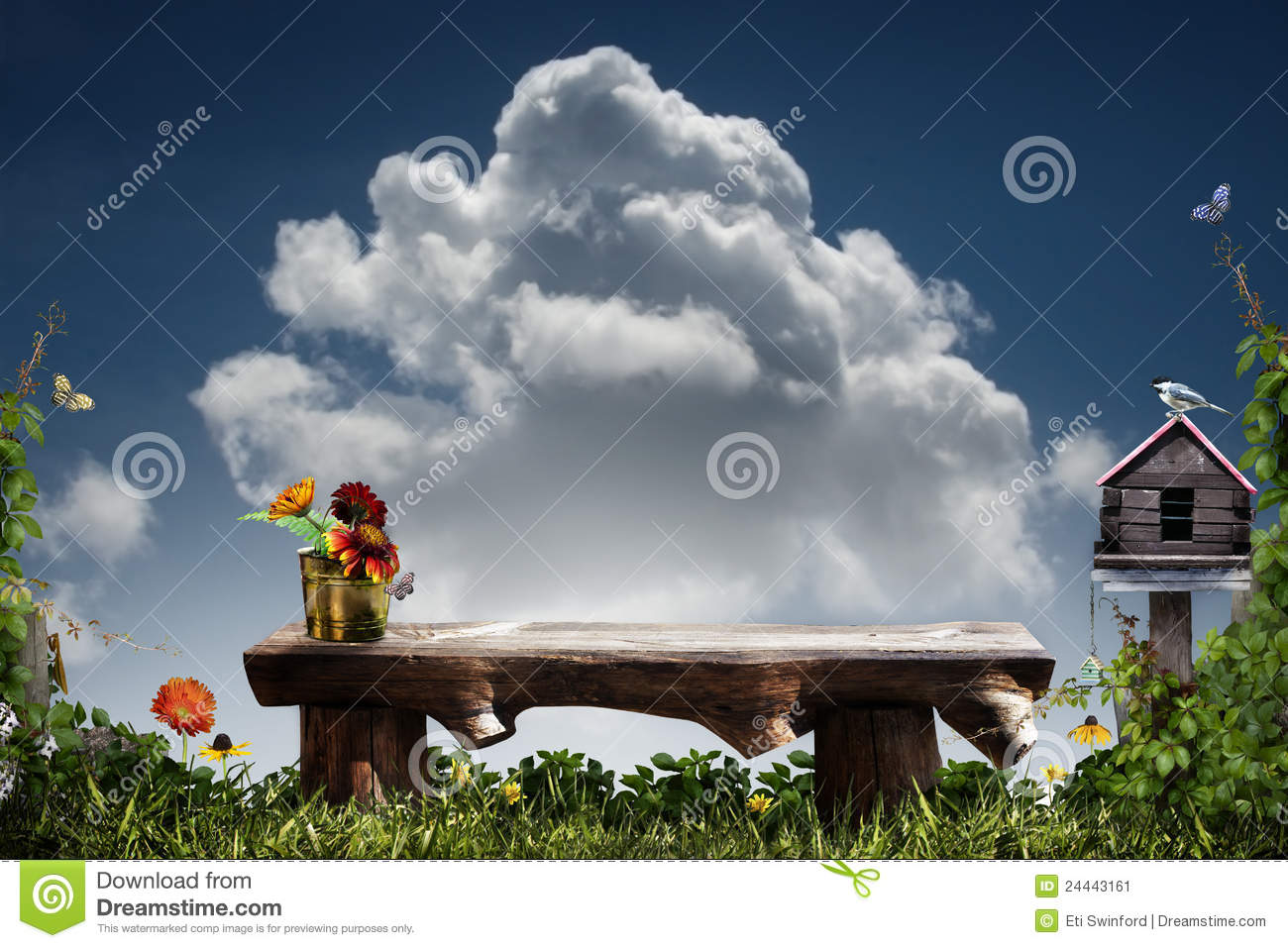 Bench And Birdhouse Royalty-Free Stock Photo ...