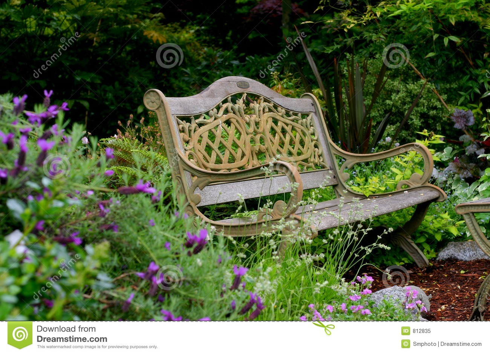 Garden Bench Stock Image Of Seat Gardening Backyard