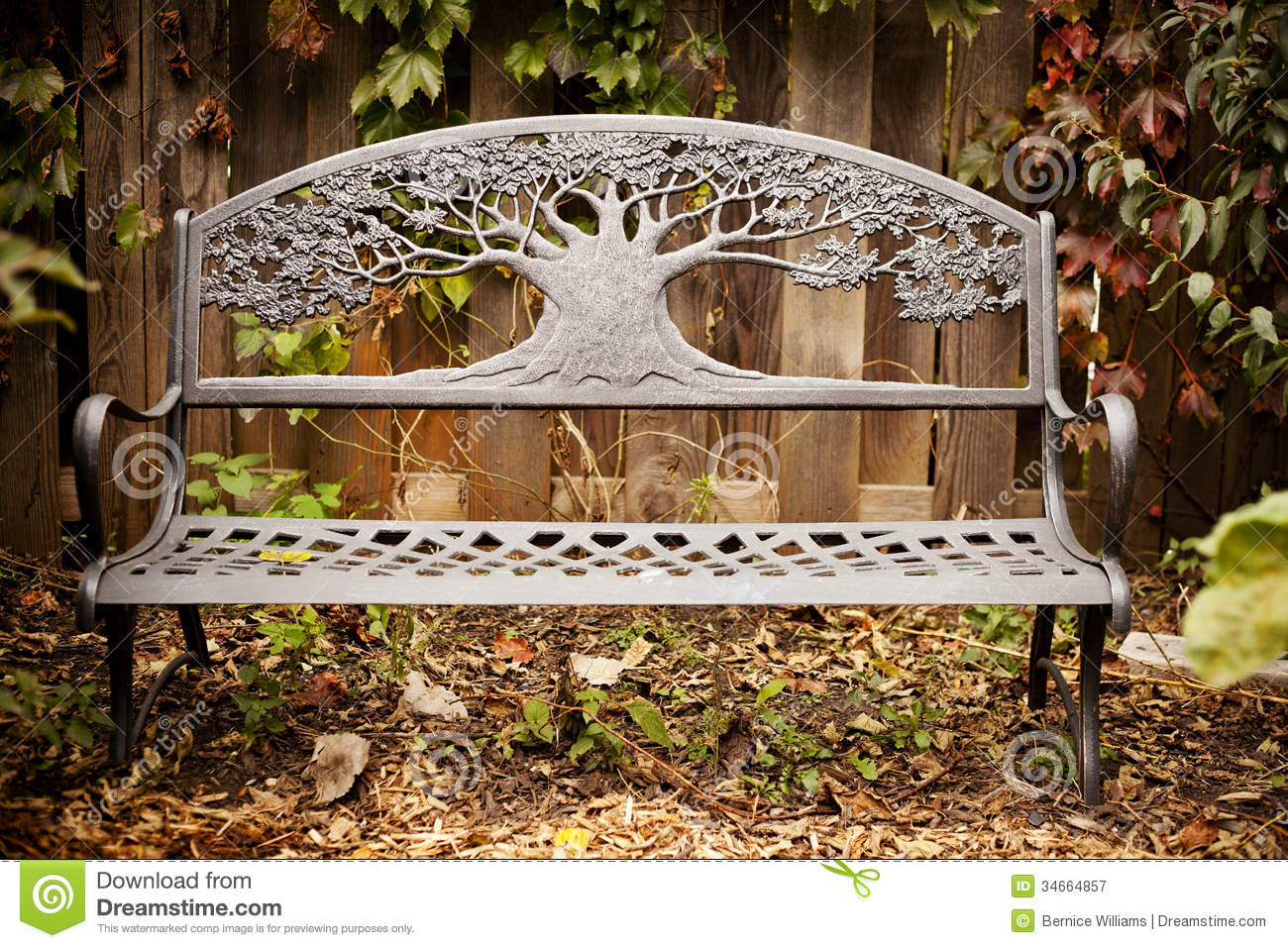 Garden Bench In Autumn Royalty Free Stock Photography - Image ...