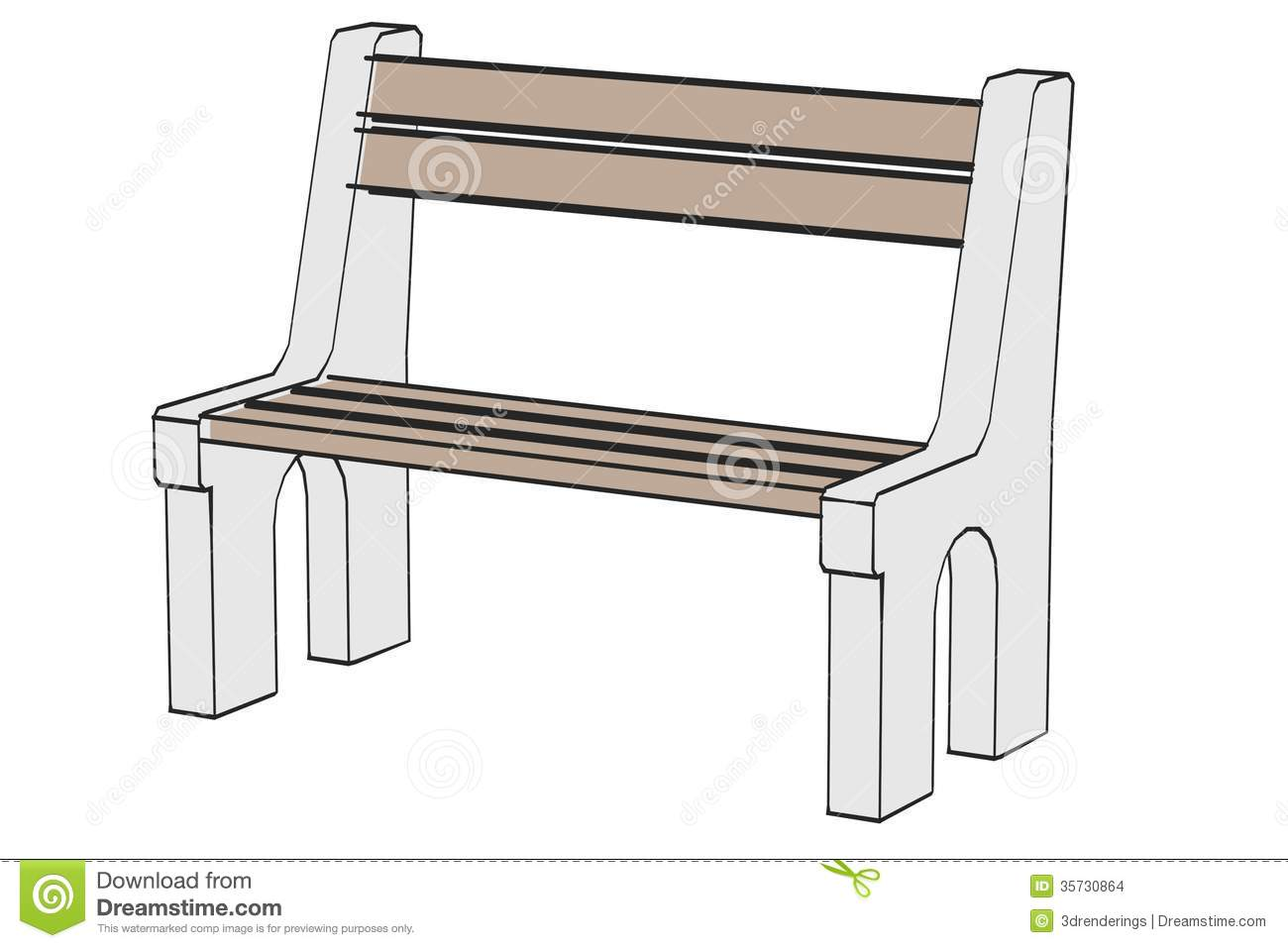 Draw Park Bench: Garden Bench Stock Images