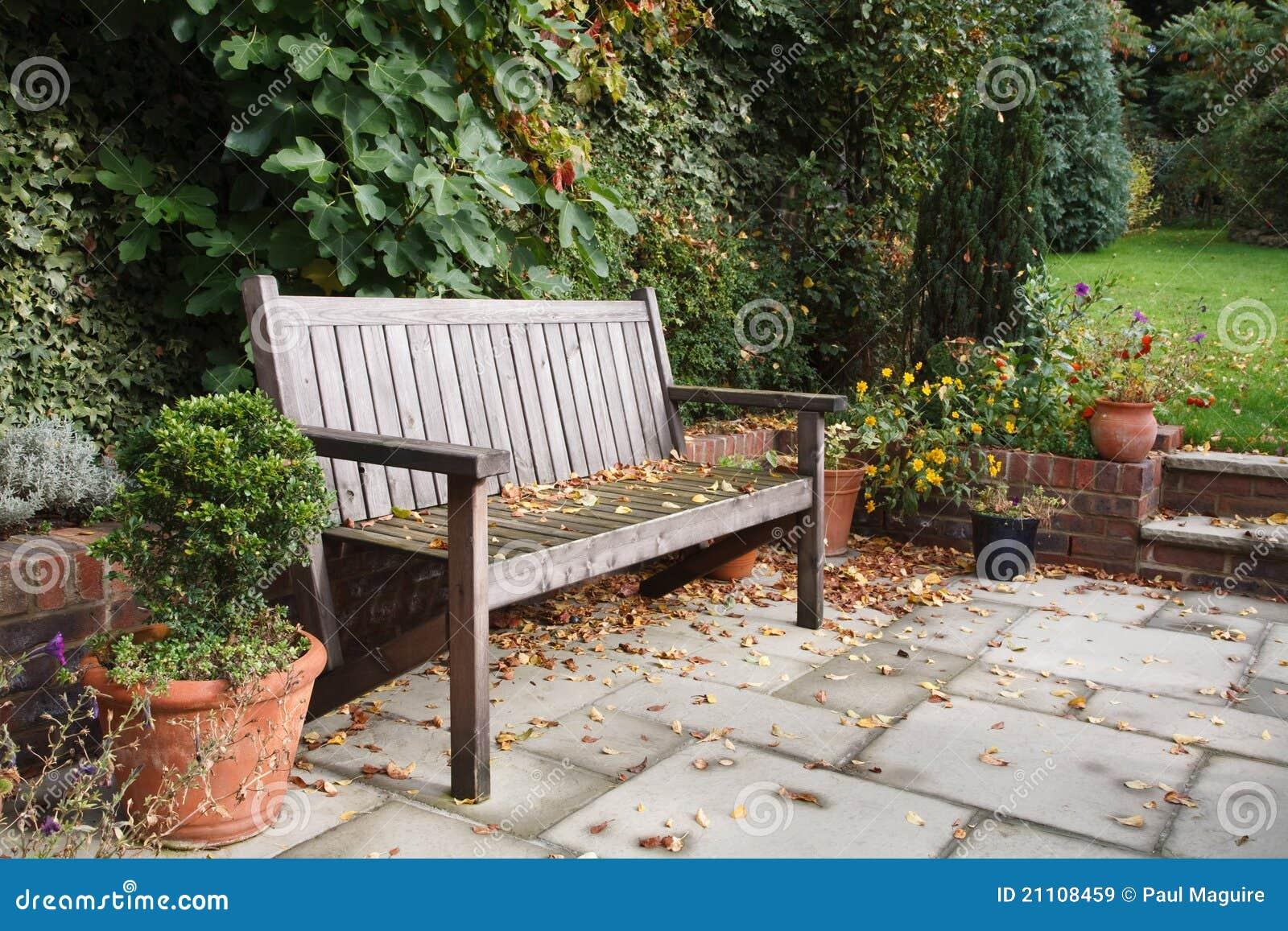 Garden bench in fall