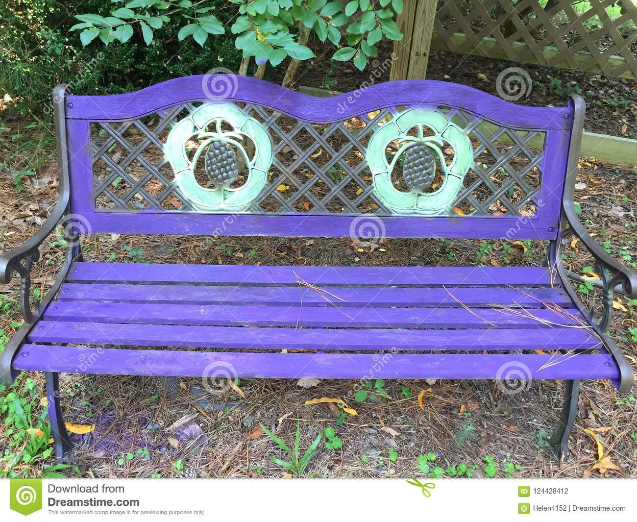 Fabulous Garden Bench Painted Purple And Yellow Stock Photo Image Ncnpc Chair Design For Home Ncnpcorg