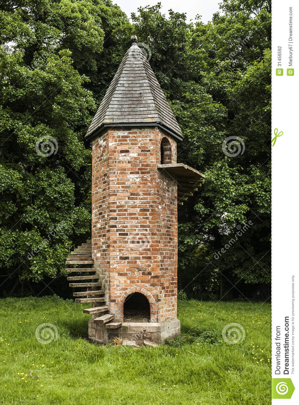 An unusual brick folly built for pet goats with outside staircase