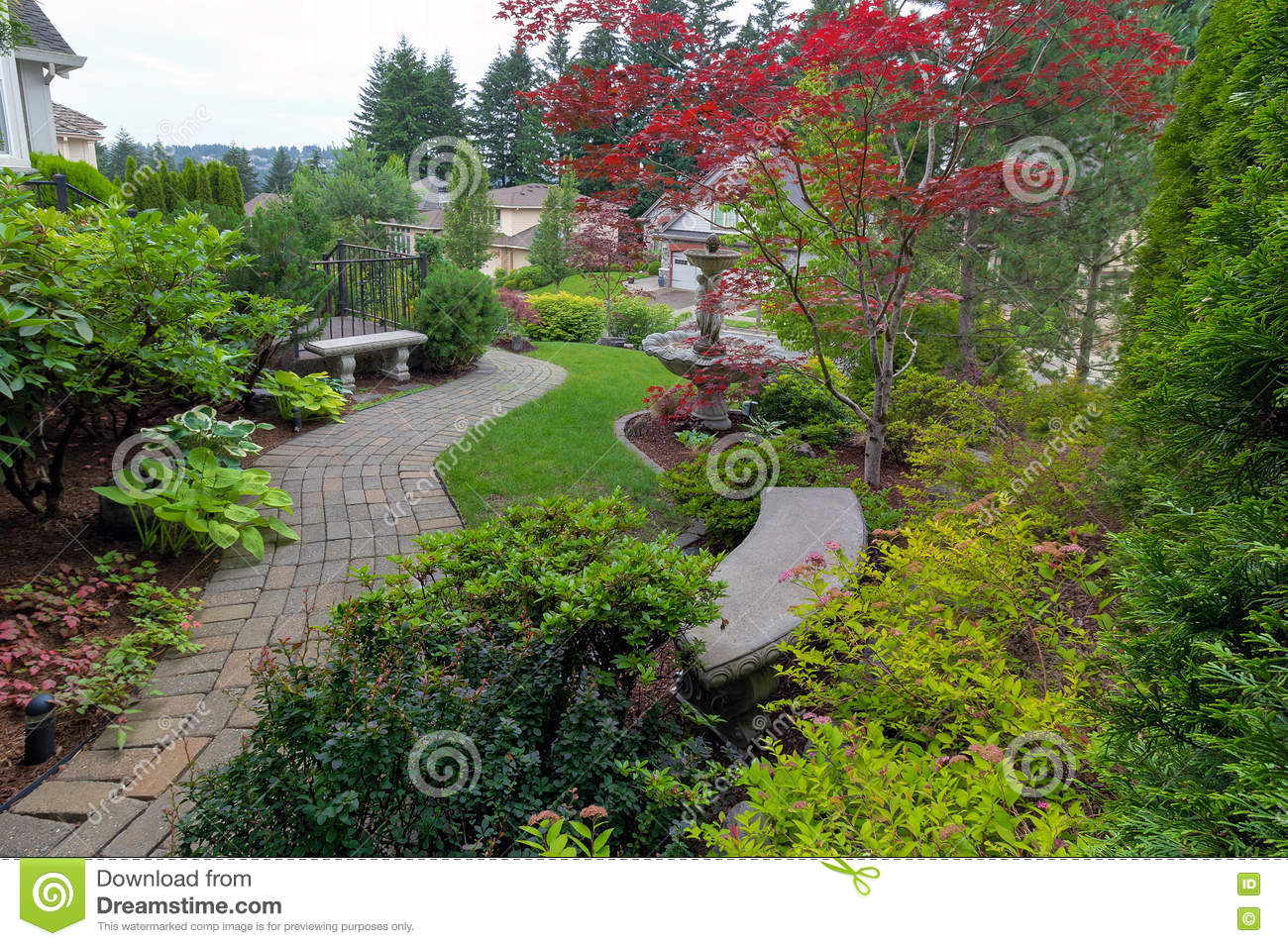 Garden with brick path stone benches and water fountain for Garden deciduous trees