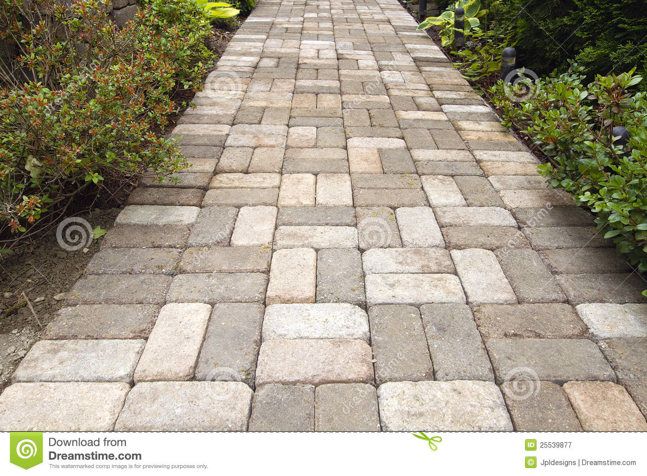 Brick Paver Walkway Designs Garden Brick Paver Path Walkway Stock Image  Image 25539877