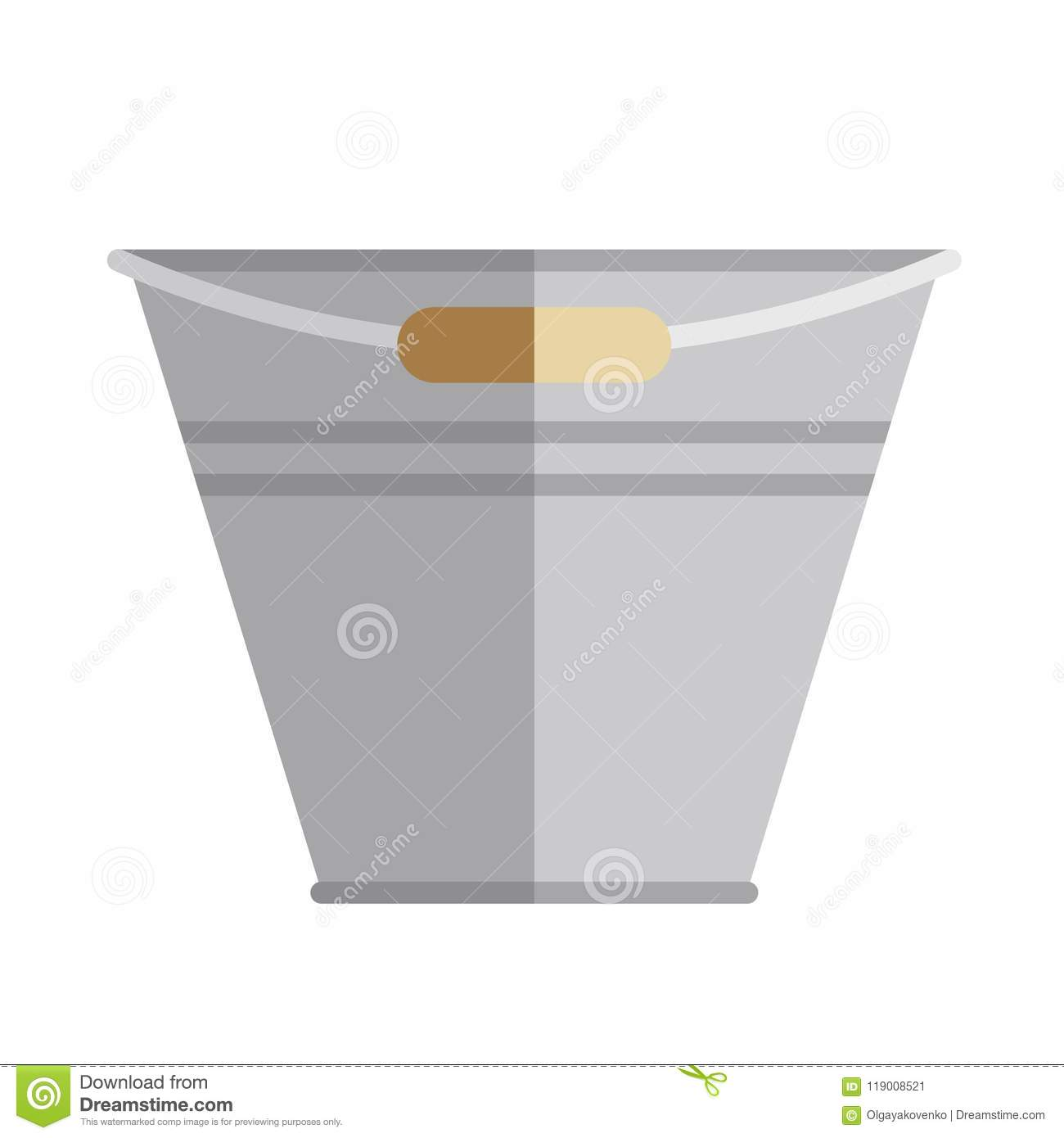 Download Garden Bucket, Pail Icon, Flat Style. Stock Vector   Illustration  Of Design
