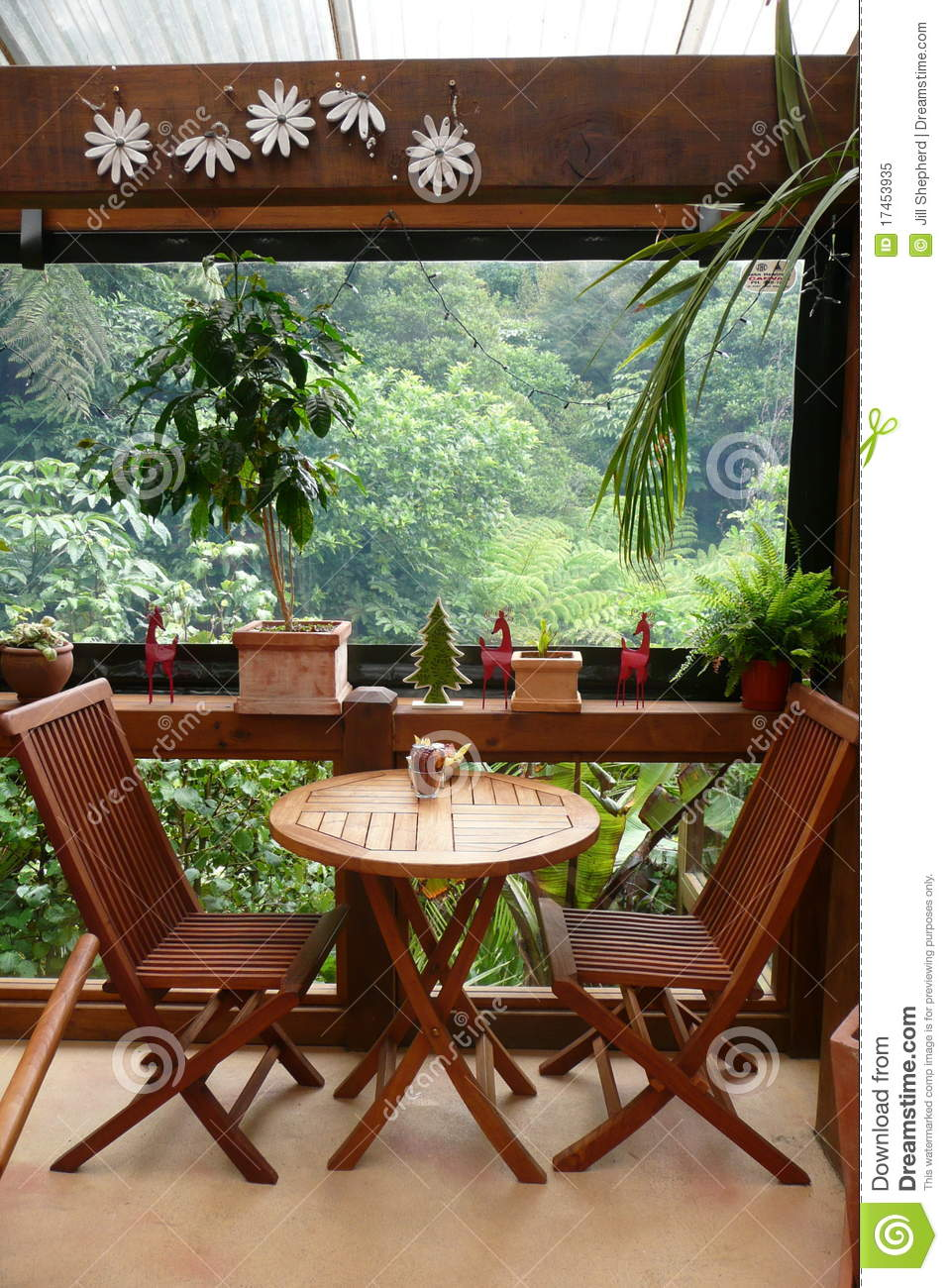 Garden Cafe Table For Two Royalty Free Stock Photo