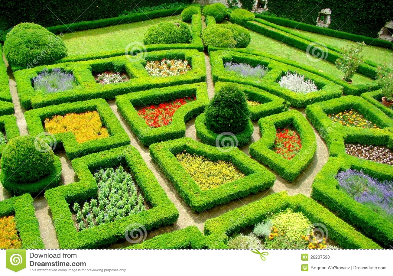 Garden in castle pieskowa skala poland stock photo for Garden maze designs