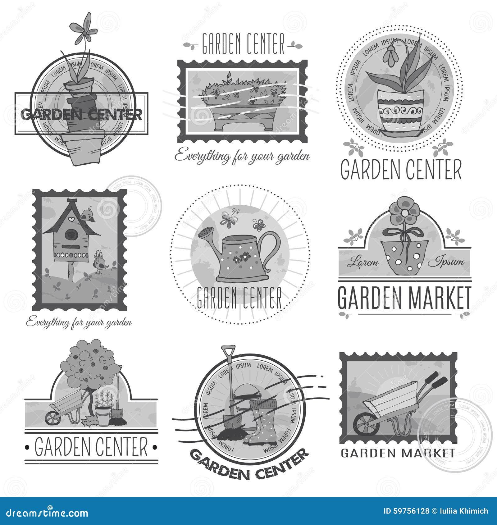 Garden Center Logo Set Stock Vector Image 59756128