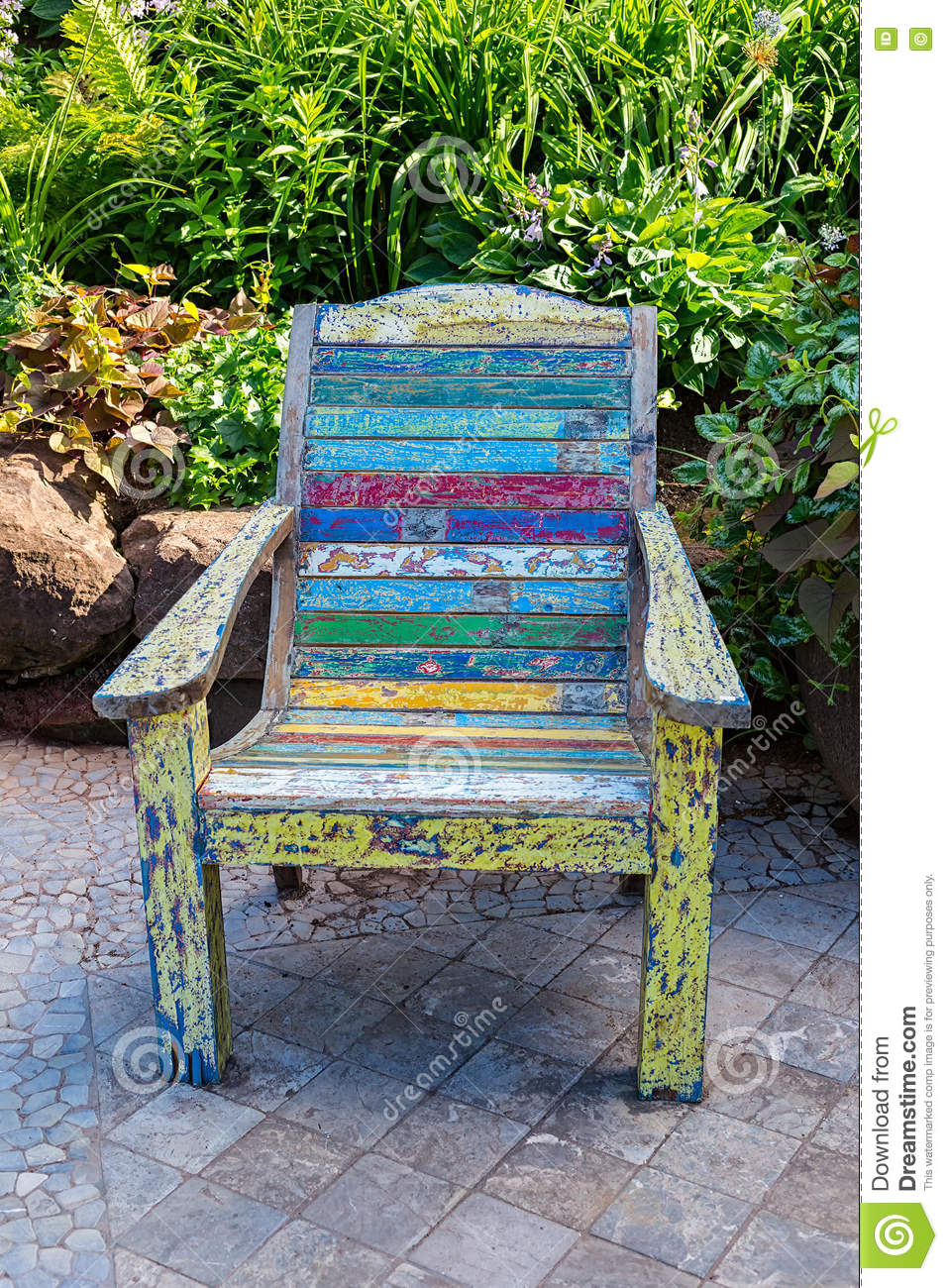 Garden Chair stock photo. Image of nature, wooden, leaves ...