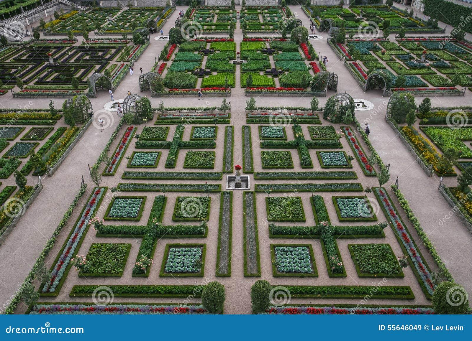 Garden Of Chateau De Villandry France Stock Image Image Of