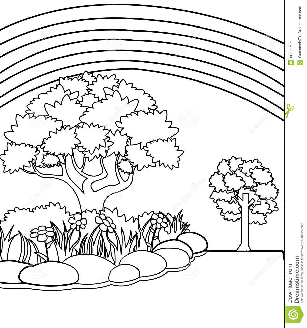 Coloring pages trees and flowers - Royalty Free Illustration Download Garden Coloring Page