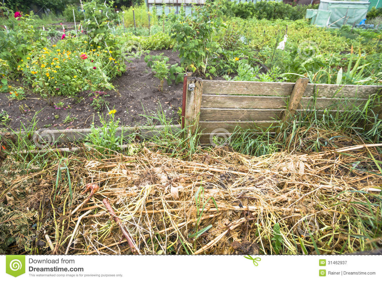 Garden compost bin stock image image of organic garbage for Garden vegetable patch