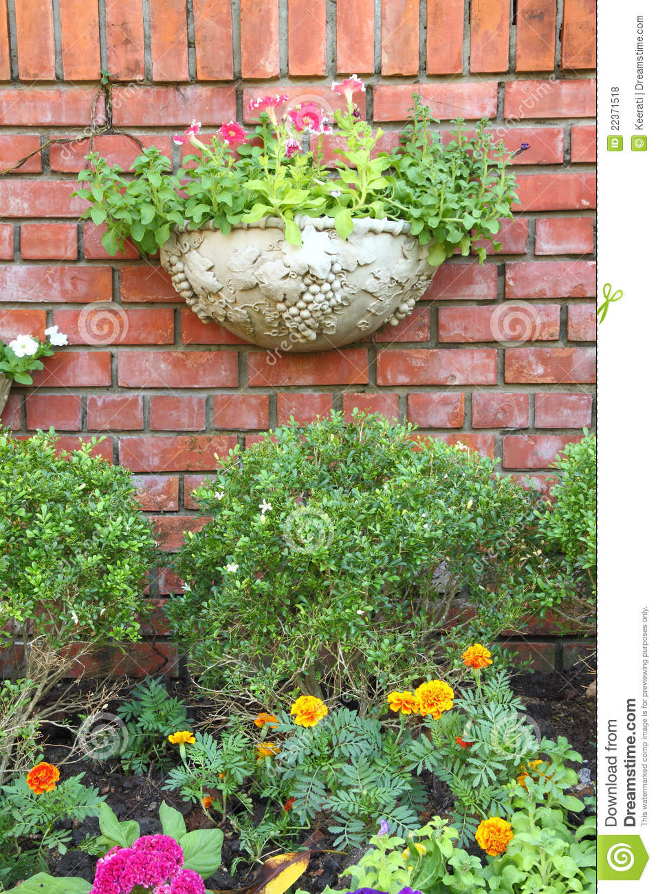 garden decoration brick wall royalty free stock photos - image