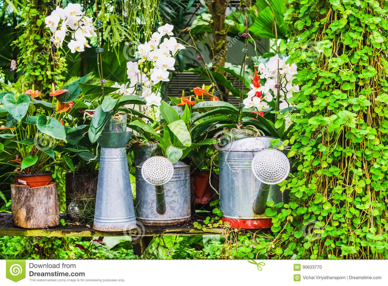 garden decoration idea using the watering can stock photo - image