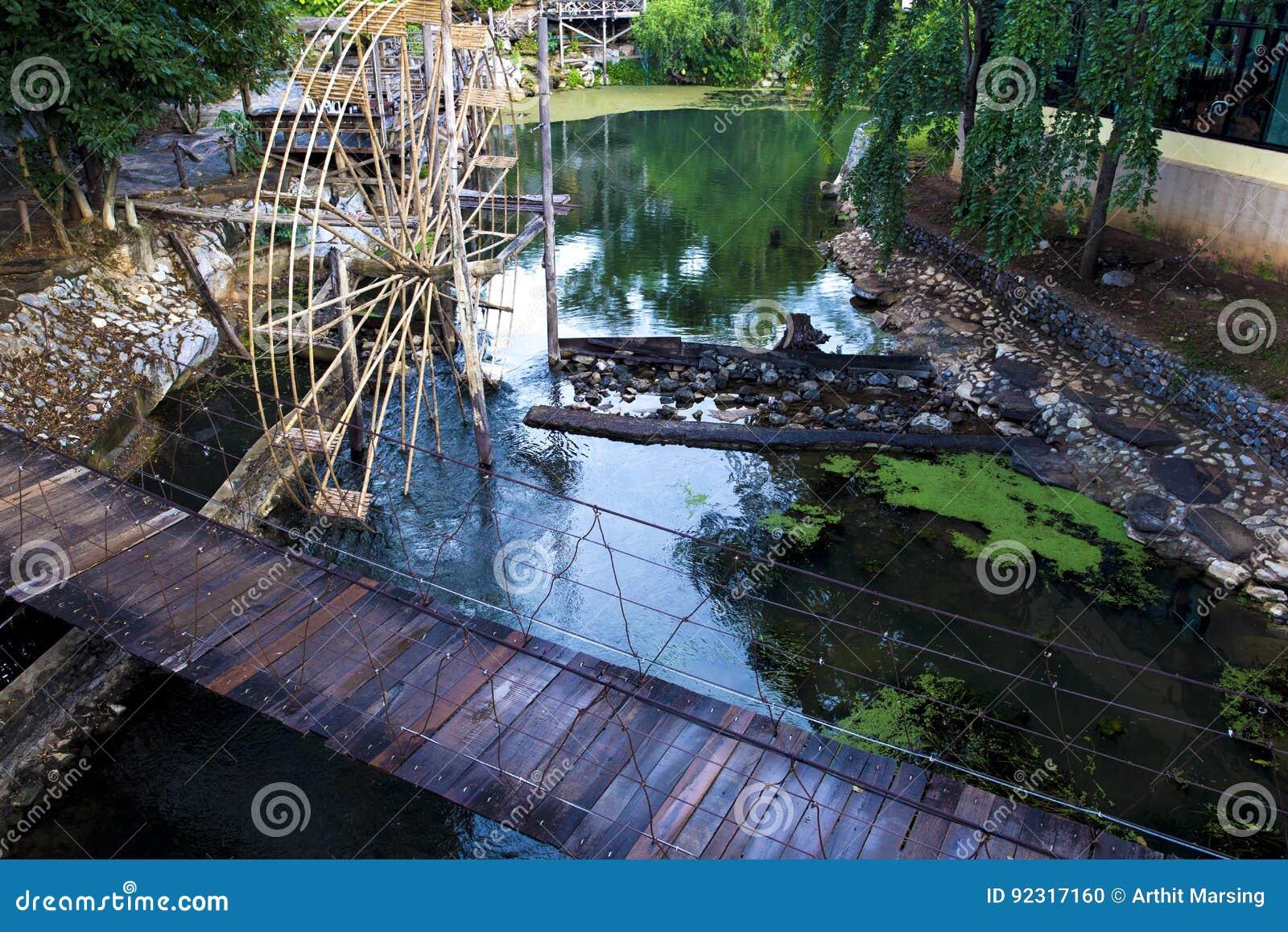 Download Garden Decoration Ideas, Wooden Hanging Bridge, Water Wheel. Stock  Photo   Image