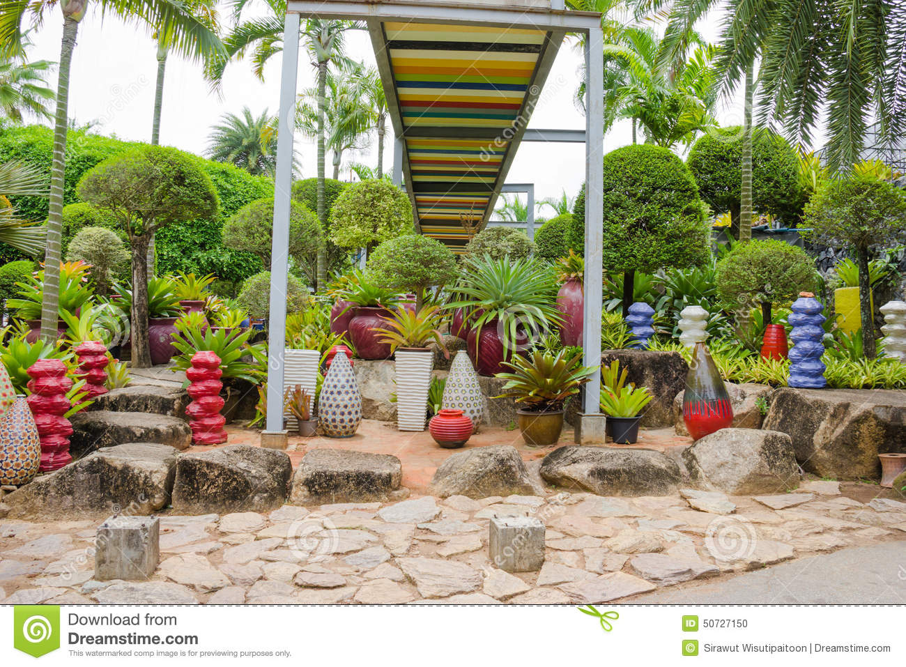 the garden decoration in nong nooch tropical garden in pattaya