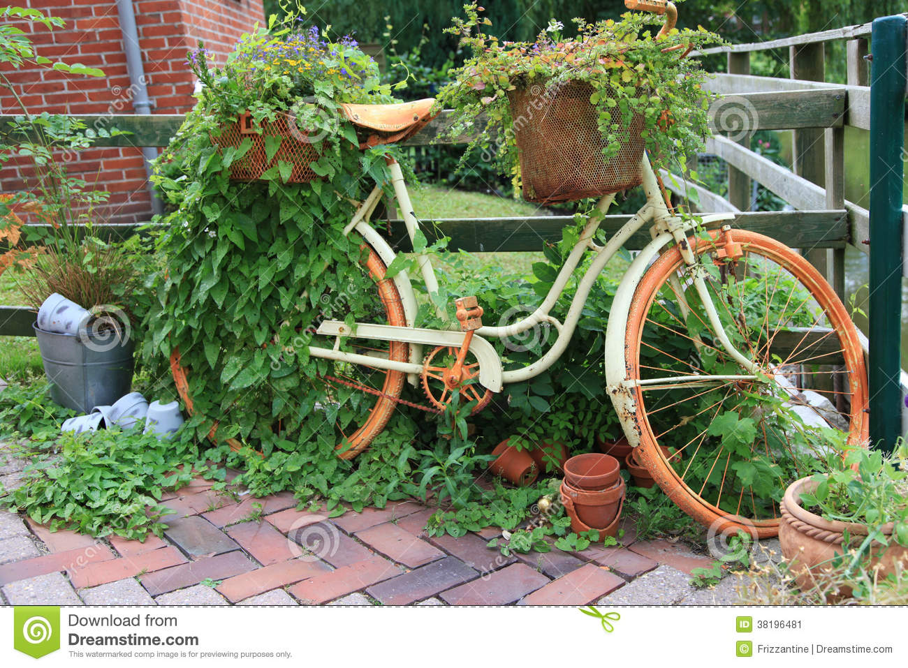 garden decoration with a old bike stock image image of