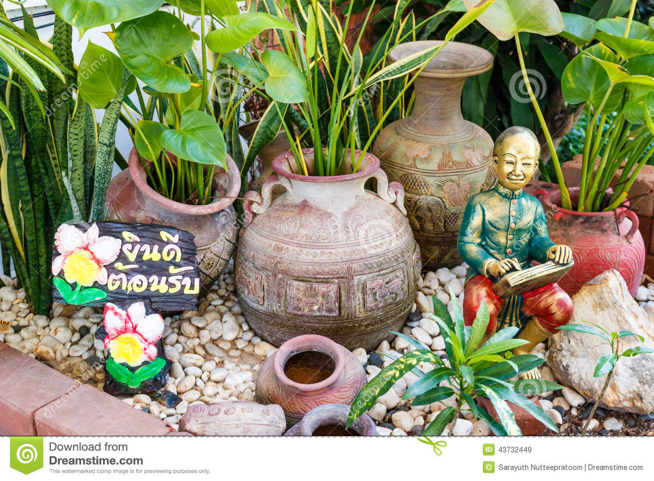 Garden decoration and welcome signs stock image image for Thai decorations ideas