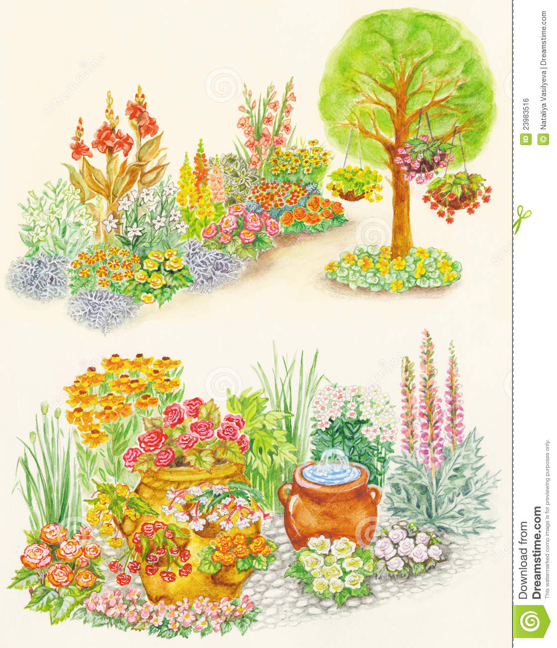 Garden design of flower beds with ornamental flowe stock for Plans for a flower garden layout