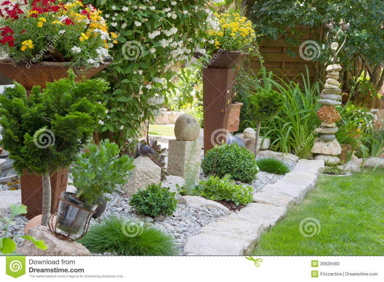 Garden design with flowers stock image image of for Outside garden design