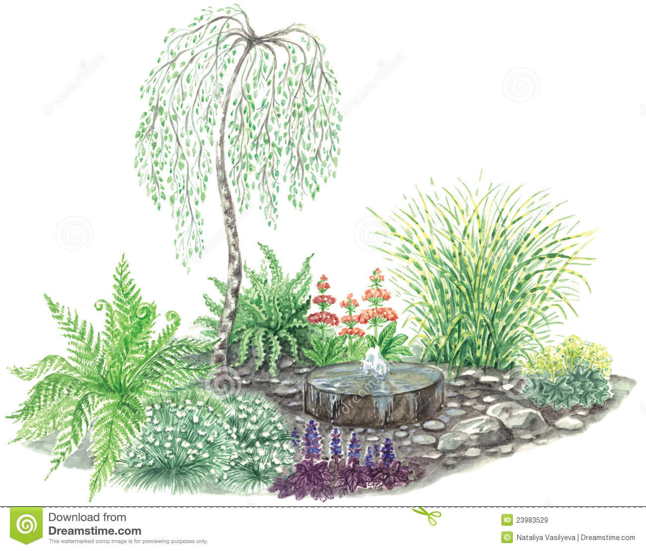 Garden Design With Little Fountain Royalty Free Stock Images ...