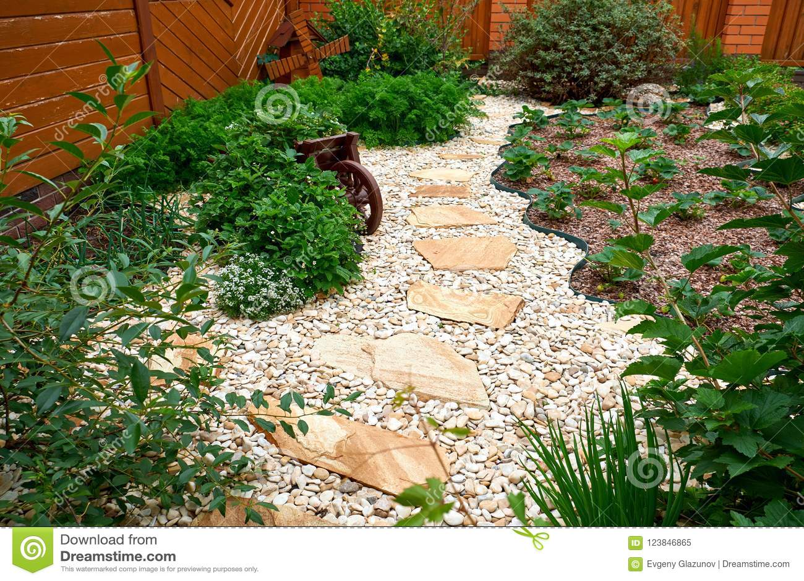 Garden Design. Pathway In Garden, Flowers With Bricks Pathways. The ...