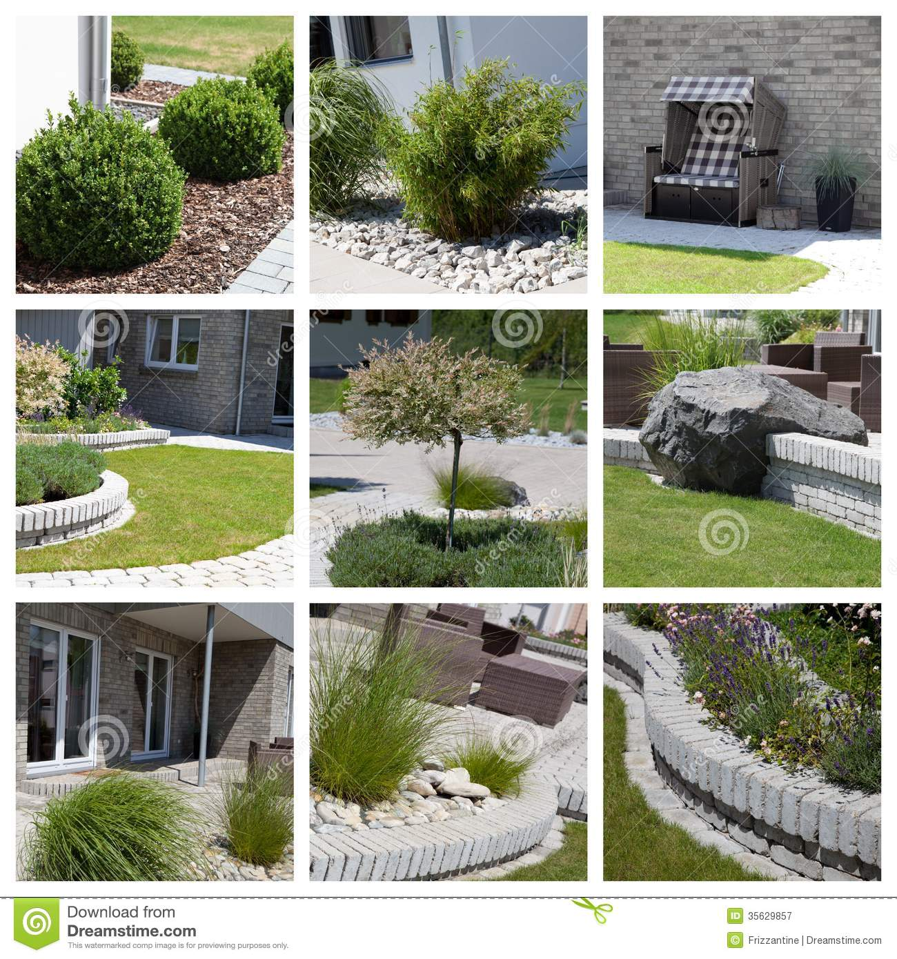 Garden Design Photo Collage Royalty Free Stock Photography