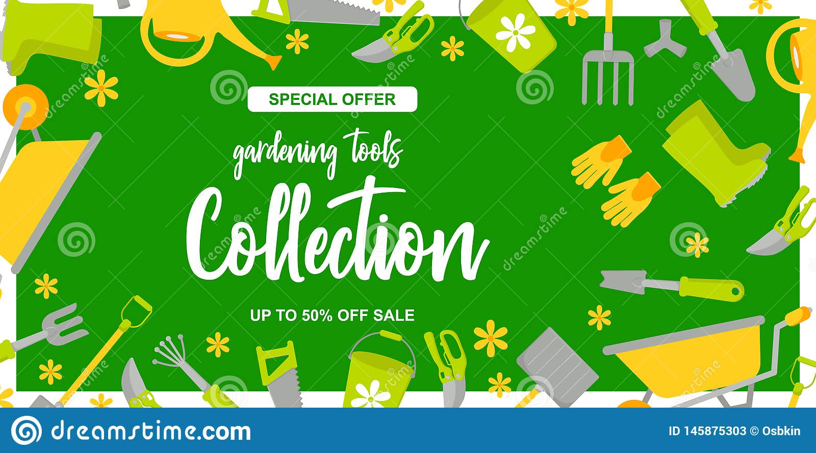 Garden Design poster with gardening tools on green background. Special offer. up to 50 off sale