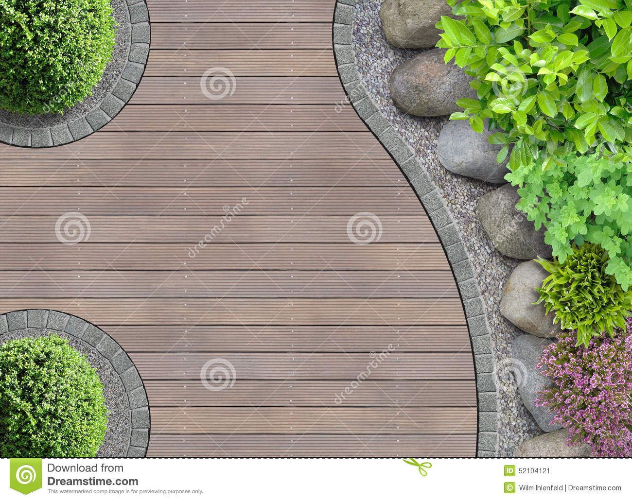 Garden design in top view stock image image of deck for Top garden designers